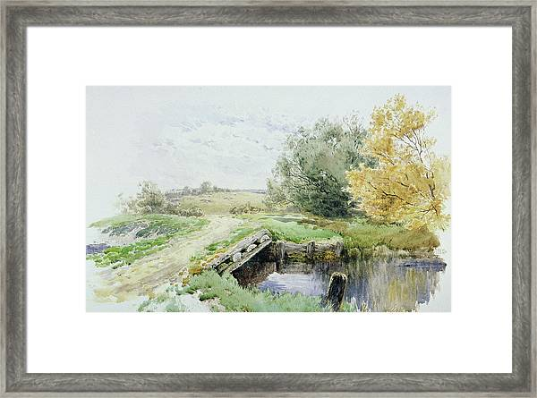 Landscape With Bridge Over A Stream Framed Print