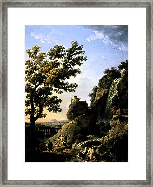 Landscape With Waterfall Framed Print