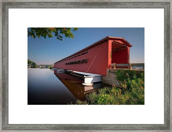 Langley Covered Bridge Michigan Framed Print