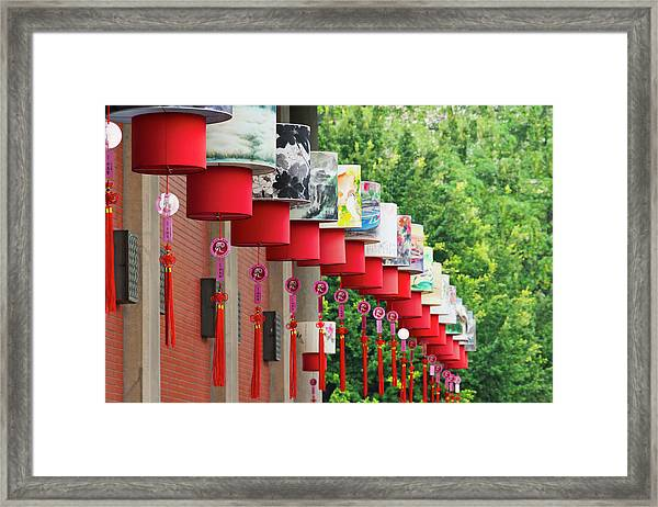 Lantern Decoration During The Chinese Framed Print by Keren Su