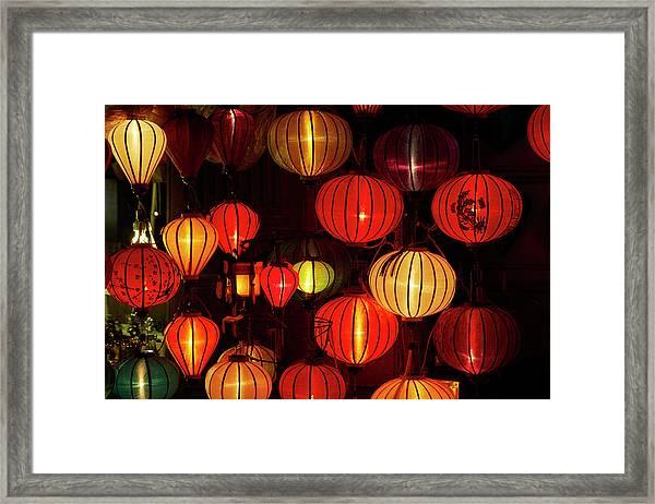 Lantern Shop At Night, Hoi An, Vietnam Framed Print by David Wall
