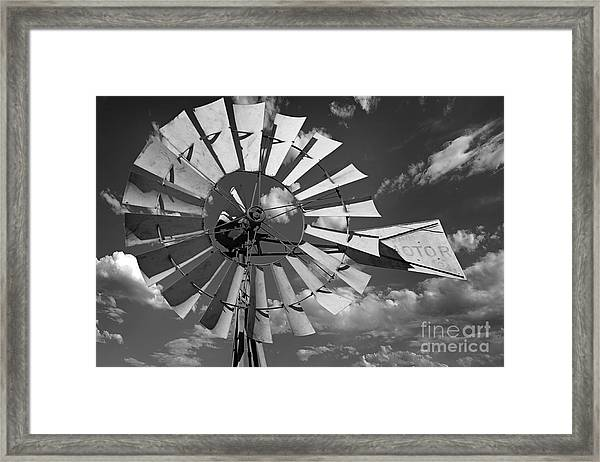 Large Windmill In Black And White Framed Print