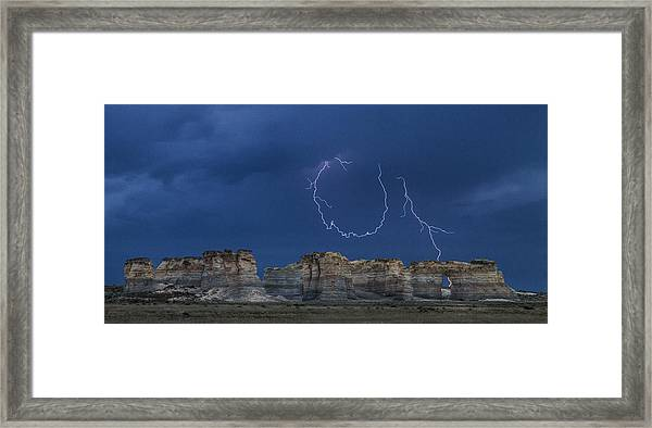 Lariat Lightning At Monument Rocks Framed Print