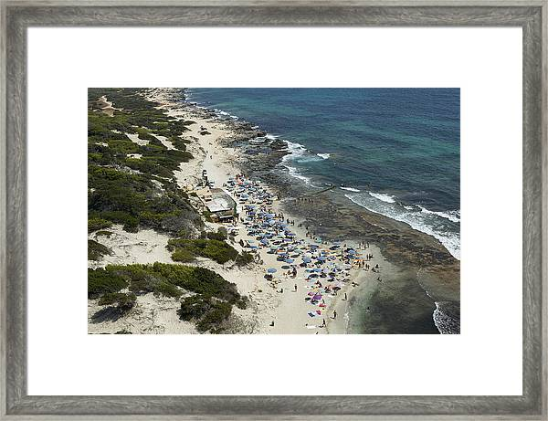 Las Salinas Beach From The Zenith Ibiza Framed Print by Xavier Durán
