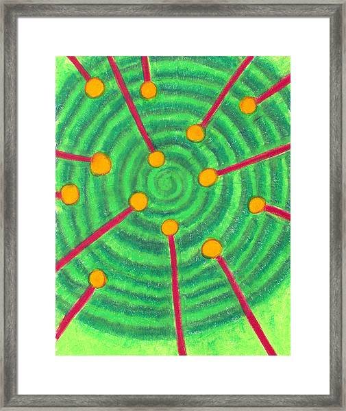 Laser Points On The Spiral Path Framed Print