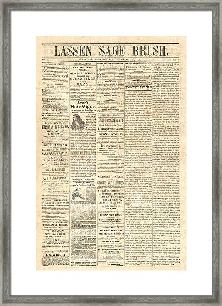Lassen Sage Brush April 27th 1872 Framed Print by The Couso Collection