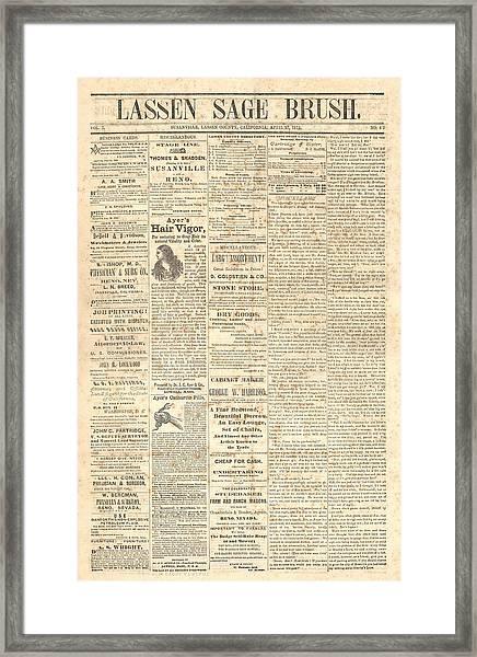 Lassen Sage Brush April 27th 1872 Framed Print