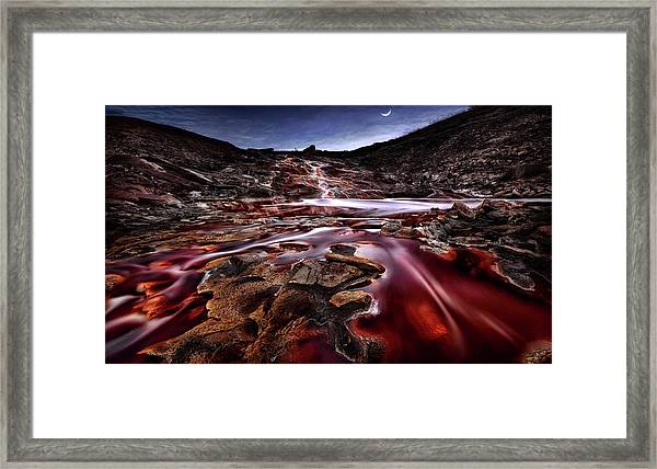 Last Lights In Rio Tinto IIi (red River) Framed Print by Jes?s M. Garc?a