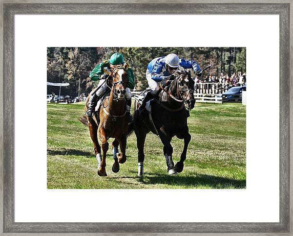 Last One To The Finish Line Is A Rotten Egg Framed Print