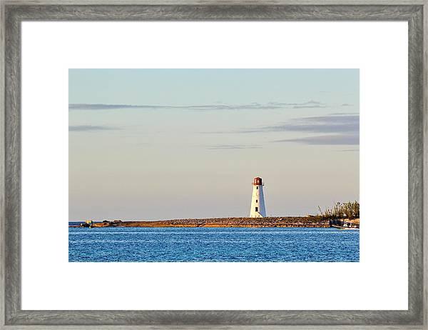 Late Afternoon At Hog Island Lighthouse On Paradise Island Baha Framed Print