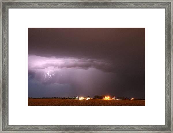 Framed Print featuring the photograph Late Evening Nebraska Thunderstorm by NebraskaSC