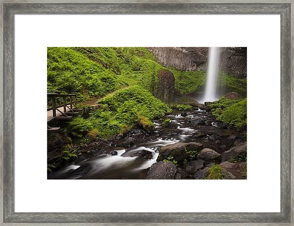 Latourell Falls And Rapids Framed Print