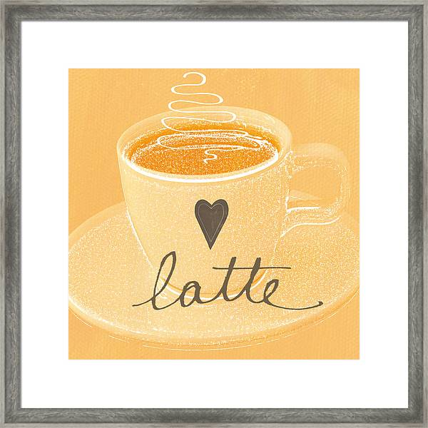 Latte Love In Orange And White Framed Print