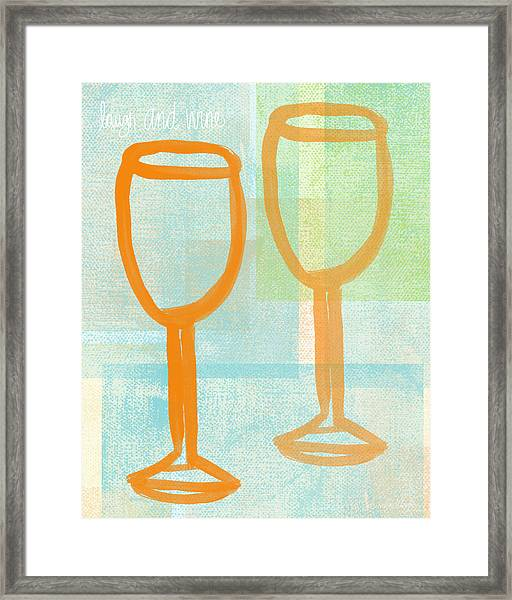 Laugh And Wine Framed Print