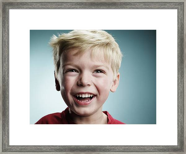 Laughing 4 Year Old Boy Framed Print by Ryan McVay