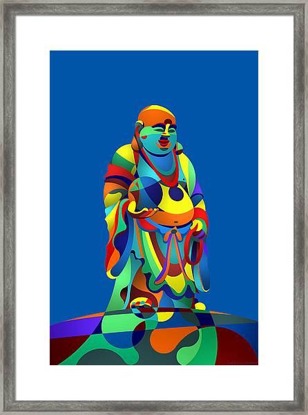 Laughing Buddha Blue Framed Print