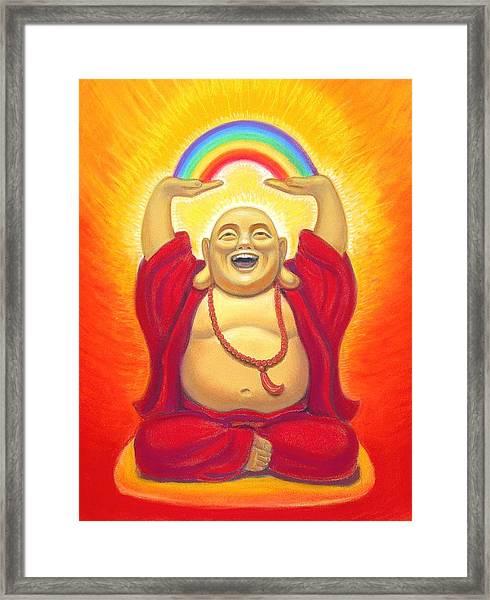 Laughing Rainbow Buddha Framed Print