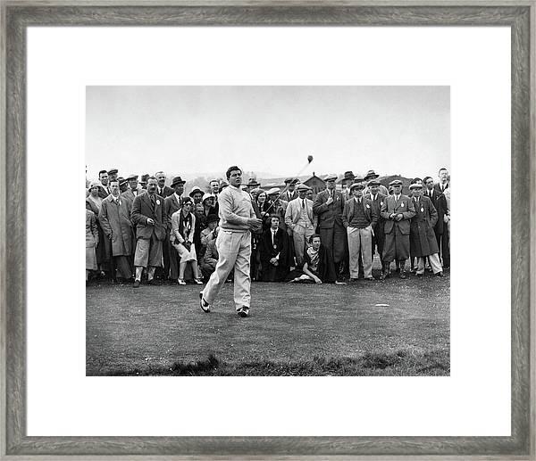 Lawson Little Holding A Golf Club Framed Print