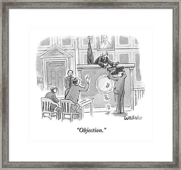Lawyer Is Bribing Judge With A Suitcase Full Framed Print