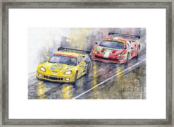 2011 Le Mans Gte Pro Chevrolette Corvette C6r Vs Ferrari 458 Italia Framed Print