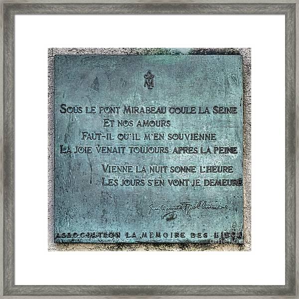 Le Pont Mirabeau Framed Print