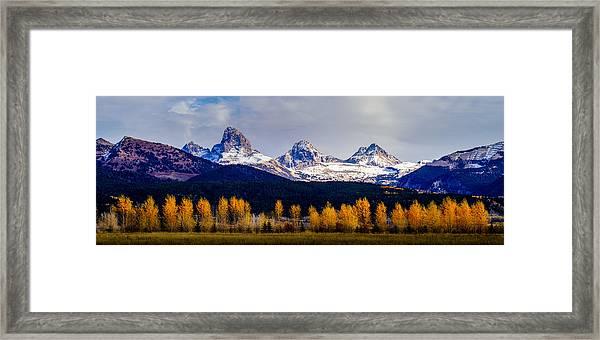 Le Trois Tetons Framed Print