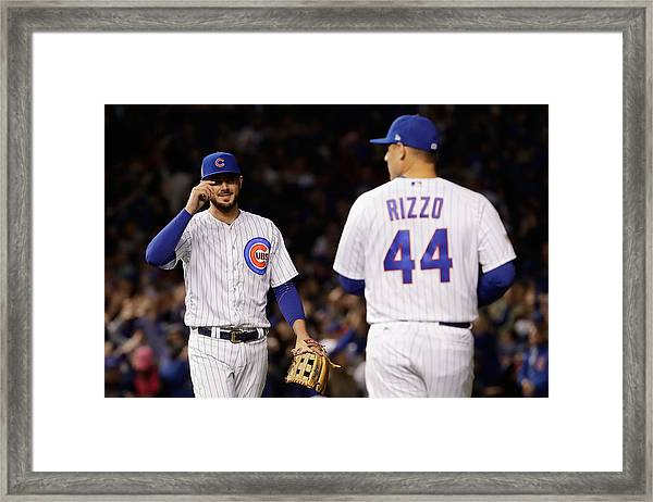 League Championship Series - Los Angeles Dodgers V Chicago Cubs - Game Four Framed Print by Jamie Squire
