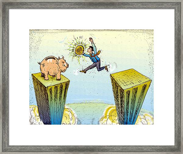 Leaping Buildings To Piggy Bank Framed Print by Vasily Kafanov