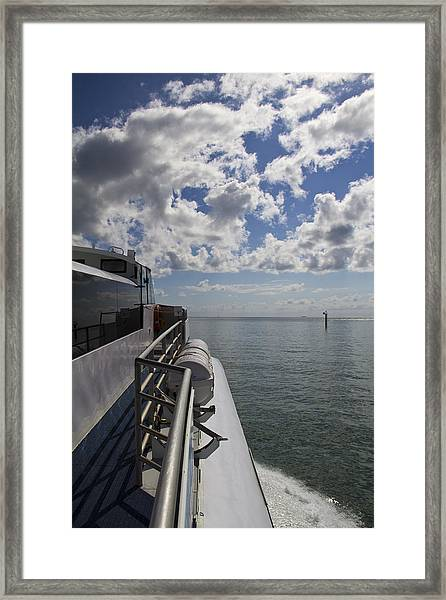 Framed Print featuring the photograph Leaving The Channel by Debbie Cundy