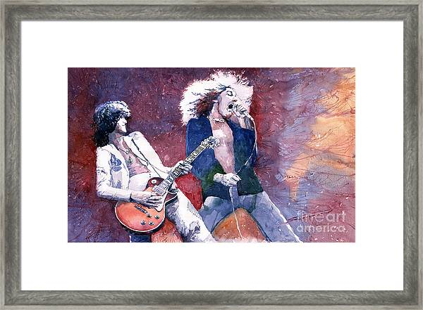 Led Zeppelin Jimmi Page And Robert Plant  Framed Print