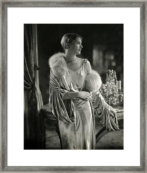Lee Miller Wearing An Evening Gown Framed Print