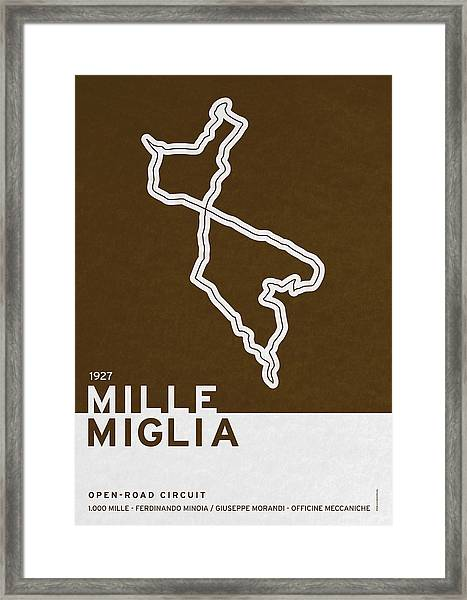 Legendary Races - 1927 Mille Miglia Framed Print