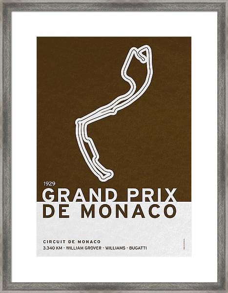 Legendary Races - 1929 Grand Prix De Monaco Framed Print