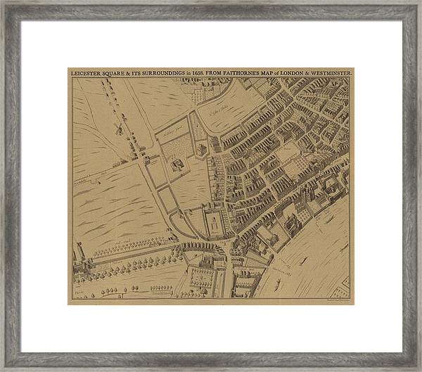 Leicester Square And Its Surroundings In 1658 Framed Print