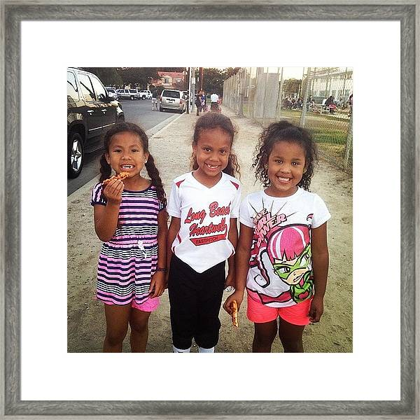 Leiya And Her Sisters At Tiare's Game Framed Print