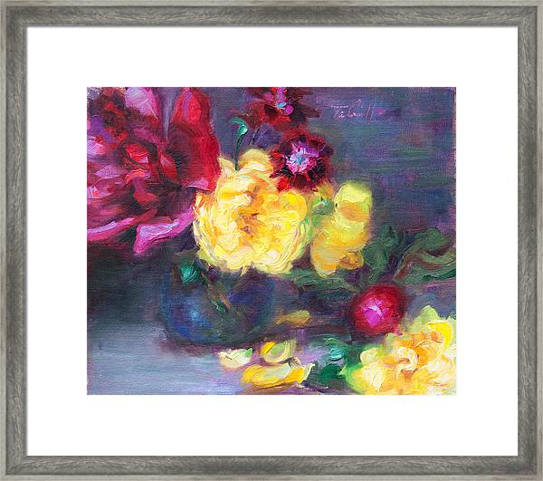 Lemon And Magenta - Flowers And Radish Framed Print