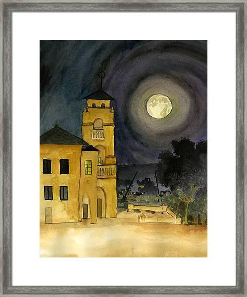 Lemon Grove Church By Full Moon Framed Print