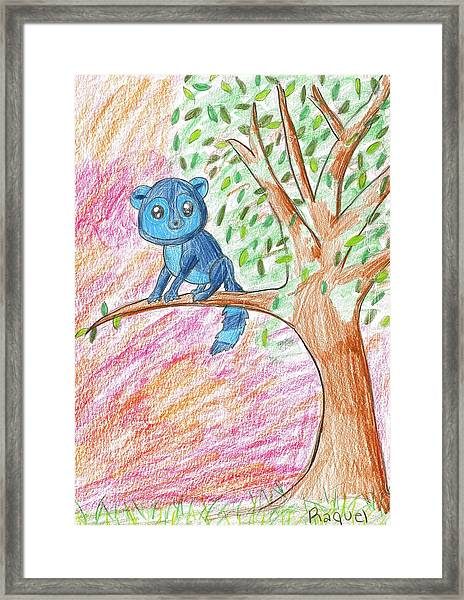 Lemur At Home Framed Print by Raquel Chaupiz