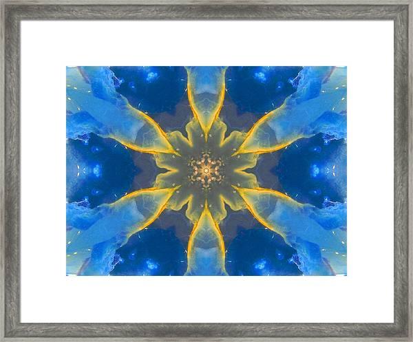 Lemurian Aquatine Calcite Mandala Framed Print