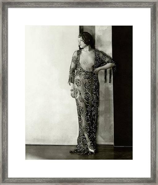 Lenore Ulric Wearing A Beaded Dress Framed Print