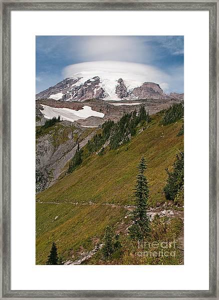 Lenticular Cloud Atop Mt Rainier Framed Print