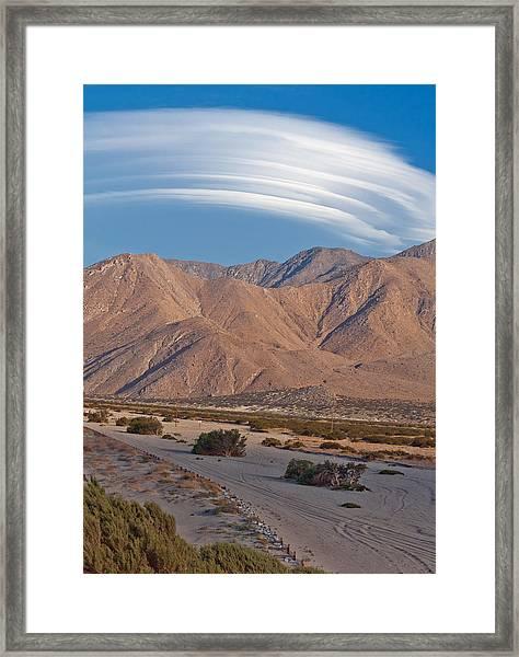 Lenticular Cloud Over Palm Springs Framed Print