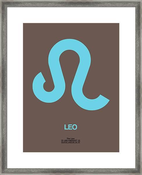 Leo Zodiac Sign Blue Framed Print