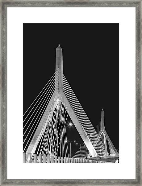 Framed Print featuring the photograph Leonard P. Zakim Bunker Hill Memorial Bridge Bw II by Susan Candelario