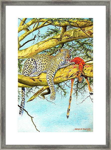 Leopard With A Kill Framed Print