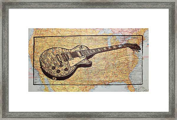 Les Paul On Usa Map Framed Print