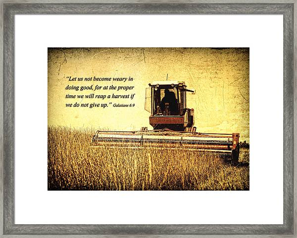 Let Us Not Become Weary Framed Print