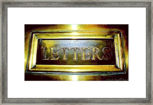 Letters Trough The Door Framed Print