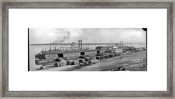 Levee Panorama Framed Print