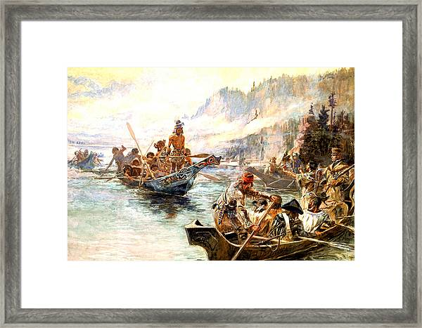 Lewis And Clark On The Lower Columbia  Framed Print